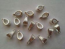 15 x Tibétain Style Métal Couleur Argent cintres/Bail Beads