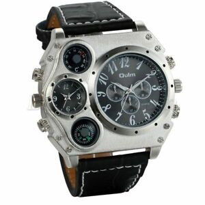 Large SILVER PLATED OULM 4x Dials Black Face Leather Band WATCH Brand NEW(R4=B)