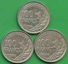 France 1954, 1955 & 1955 100 Franc Coins