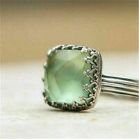 Vintage 925 Sliver Large Moon Stone Gems Ring Women Men Wedding Party Size 6-10