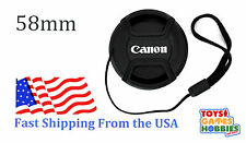 58mm E-58 Center Snap on Lens cap for CANON + Leash Directly attached to cap