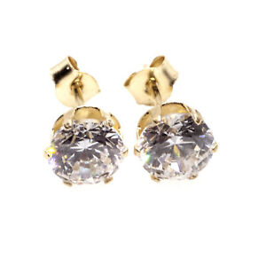 9ct gold stud earrings CZ solitaires 5 mm , post and backs also 9ct yellow gold