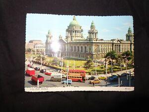 postcard city hall Belfast c1970 bus taxi etc  ETC Bamforth