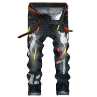 Men's Fashion Ripped Hole Biker Skinny Jeans Frayed Casual Trousers Denim Pants
