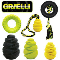 Grrrelli Rubber Tough Dog Toys Treat Fillers & Tyres Ropes Tuggers Throw Fetch
