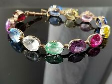 Antique Vibrant Multi Colored Quartz 14k rose gold bracelet 7.5
