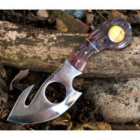 "7"" BONE COLLECTOR FIXED BLADE GUT HOOK SKINNING KNIFE Hunting Bowie Fish Skinner"