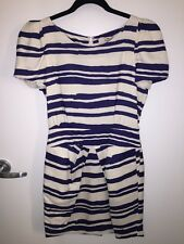 REISS London White Blue Striped Silk Dress US 4