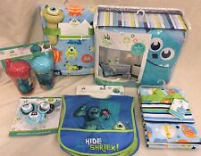 DISNEY BABY MONSTERS Set Crib Boy Bedding 16 p Blanket Blue Lime Green