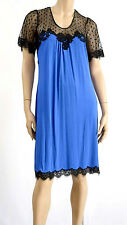 "Marjolaine Lingerie Babydoll Dress Medium Viscose Blue & Black ""scruple"" 4xl 50"