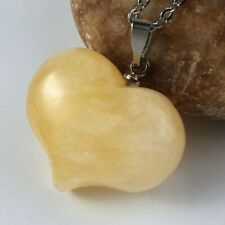 Natural Heart Shape Yellow Jade Gemstone Silver Necklace Pendants Holiday Gifts