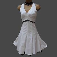 KAREN MILLEN White Lace Trim Marilyn Style Halterneck Races Flare Dress 12 UK 40