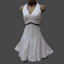 KAREN MILLEN White Cotton Lace 50's Marilyn Monroe Style Halterneck Dress 10 UK
