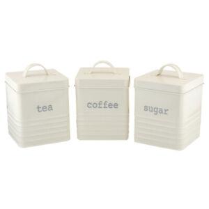Apollo Set Mit 3 Quadratisch Gerippt Kanister, Creme Tee Kaffee Zucker