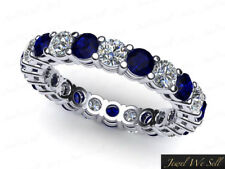 1.40Ct Round Sapphire Diamond Gallery Eternity Band Ring 950 Platinum AAA G SI1