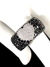 EFFY BH 14K SOLID WHITE GOLD 2.36 TCW BLACK & WHITE DIAMOND PRISM HEART RING - 7