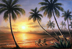 Hawaii Sunset Couple Chairs Beach Bird Of Paradise Palms Oil Painting STRETCHED