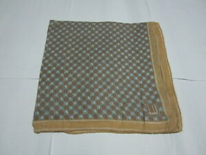 """USED LIGHT BROWN PLAID  PATTERN COTTON 20"""" HANDKERCHIEF POCKET SQUARE FOR MEN"""