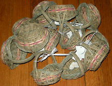 LOT OF 12 MINI WOVEN WICKER BASKETS WITH COLOR ACCENTS CRAFTS HOBBY NEW W/ TAGS