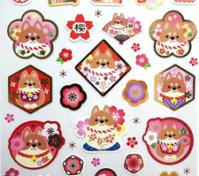 Kawaii Shiba Inu stickers! Japanese stickers, cherry blossoms, planner stickers