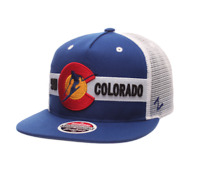 ZEPHYR (ZHATS) SKI COLORADO CO USA MESH BLUE WHITE ADJUSTABLE SNAP BACK HAT NEW