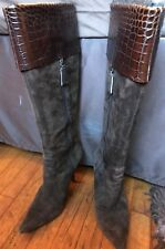 Brown Suede Knee High Boot w/Crocodile Embossed Leather top & Tortoise Heel -7.5