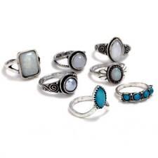 7 PCS Boho Knuckle Opal Stone Finger Ring Set Women Ethnic Jewelry