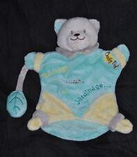 Peluche doudou marionnette chat  BABY'NAT BABYNAT bleu jaune Etat NEUF