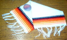 Serape Blanket Large White & Orange 1:12 Dollhouse Mexican Miniature Rug Carpet
