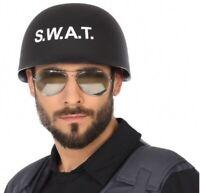 CASQUE Noir POLICE SWAT Plastique Déguisement Policier Homme NEUF