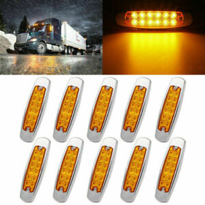 10X12LED Side Marker Amber Lights for Peterbilt Cab Sleeper Freightliner Truck