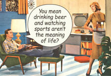 Drinking Beer Watching Sports Meaning of Life Funny Poster Print - 19x13