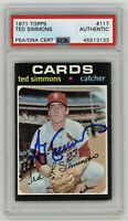 1971 CARDINALS Ted Simmons signed ROOKIE card Topps #117 PSA/DNA Slab AUTO RC