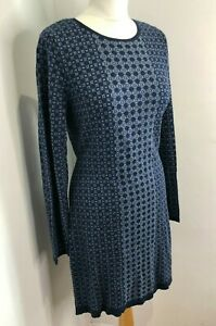 Clements Ribeiro blue pattern crew neck knitted jumper dress Size L 12 14 VGC