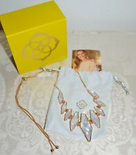 NWT $150 KENDRA SCOTT Berniece Large Bib Necklace Mother of Pearl Rose Gold