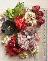 RED BLACK & CREAM 19 Flowers & Roses +6 Leaves 8 Styles PAPER & SILK 20-70mm VA2