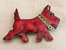 Vintage Red Enamel And Rhinestone Scottie Dog Pin Brooch