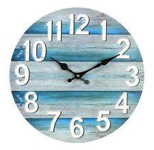 Wall Clock Boards Teal 34cm Washed New Marine Theme Beach Decor Nautical