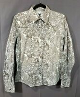 WOMEN'S  Rockies Western Cut Shirt Size Large, Pearl Snaps, Long Sleeves Cowgirl