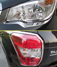 Head + Tail Light Cover For Subaru Forester SJ 2014-2017 Chrome Strips Accessory