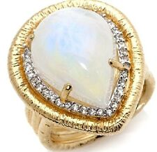Rarities Sterling Moonstone and White Zircon Vermeil tear drop Ring Size 7 HSN