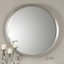 Classic Round Silver Wall Mirror | Contemporary Vanity