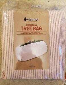 Whitmor Christmas Tree Storage Bag Red Stripe Durable Canvas Handles Zipper