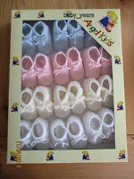 BABY KNITTED BOOTIES SOCKS GIRLS BOYS PINK BLUE WHITE CREAM NEWBORN BOX OF 12