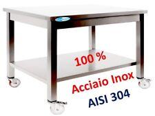 Tavolo In Acciaio Inox cm160x60x85h 100%AISI 304 Banco Con Ruote Professionale