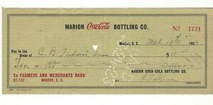 1923 Coke Coca Cola Bottling Company Check, Marion SC South Carolina,