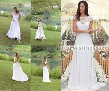 Custom White/Ivory Lace Chiffon Bridal Gown Wedding Dress Size 6-8-10-12-14-16++