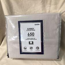 AQ Textiles Surrey 4-Pc. Queen Sheet Set, 650 Tc GREY Retail $190