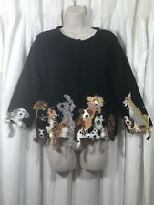 MICHAEL SIMON Dog Cardigan 3D Sweater Holiday XMAS Puppies Size S