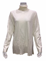 Isaac Mizrahi Women's Pullover Turtleneck Essentials Long Top Pearl Large Size
